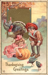 Thanksgiving Greetings, with Children and Turkeys