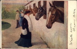 Woman admiring Horses in Stalls - Favorites