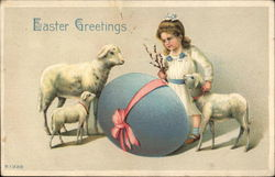Easter Greetings, with Girl, Lambs, Egg