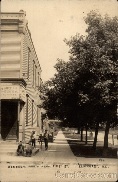 Addison North From First Street With Boys Loitering on Street Corner Elmhurst Illinois