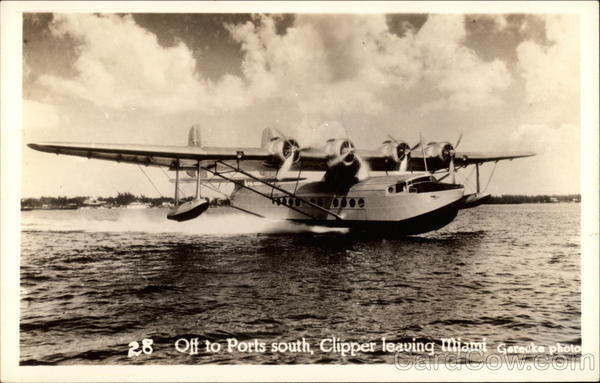 Off to Ports South, Clipper Taking Off Miami Florida