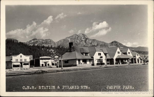 C.N.R. Station and Pyramid Mountain Jasper National Park Canada
