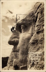 Gutzon Borglum Inspecting Work on Face of Washington