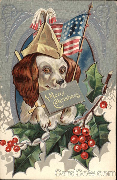 A Merry Christmas - Dog with American Flag