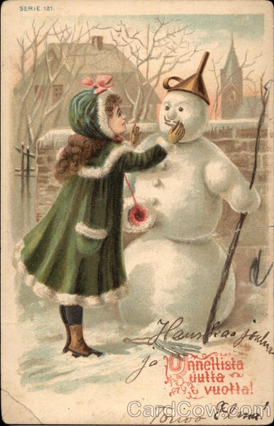 Christmas girl with snowman snowmen