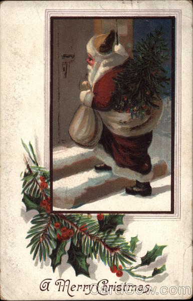 A Merry Christmas - Santa Claus on Snowy Steps