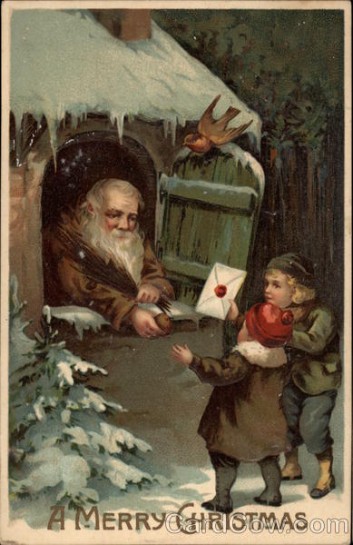 A Merry Christmas - Children Delivering Letter to Santa Claus