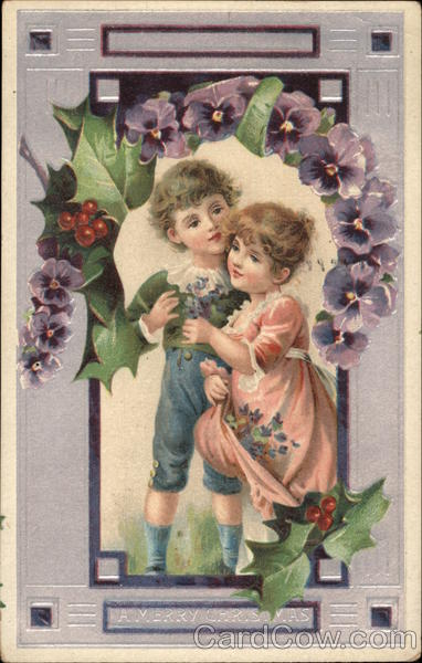 A Merry Christmas - Boy and Girl with Pansies Children