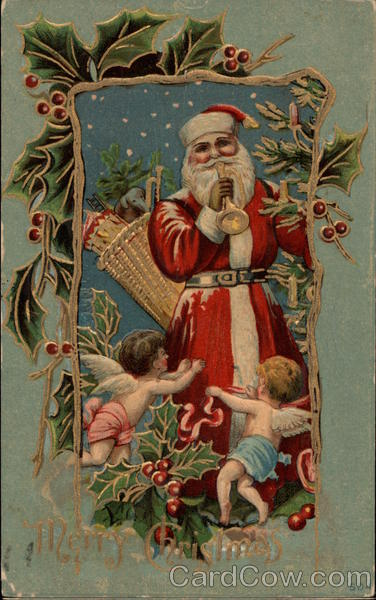 Santa claus with angels and toys