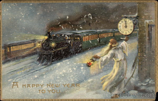 A Happy New Year to You - Steam Train and Old Father Time