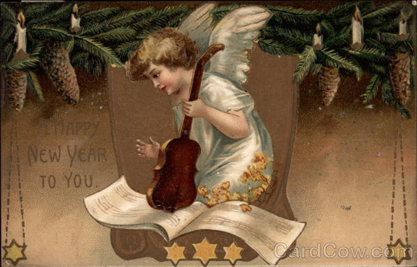 Happy New Year To You - Angel Playing Violin Angels & Cherubs