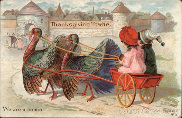 Two Children Riding a Turkey Cart to Thanksgiving Towne