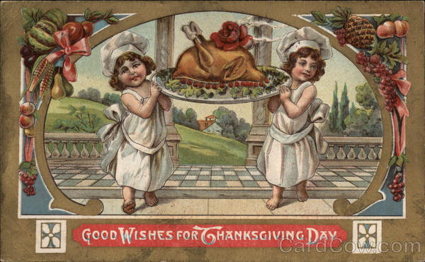 Two Children Holding a Turkey on a Plate