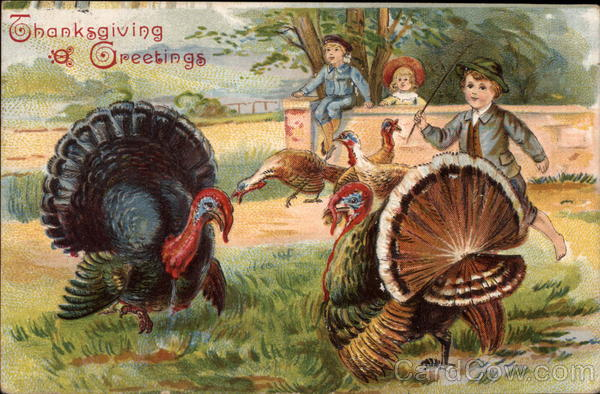 Thanksgiving Greetings - Turkeys with Children