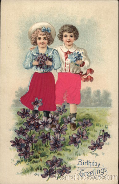 Birthday Greetings - Children with Violets Silk & Fabric Applique
