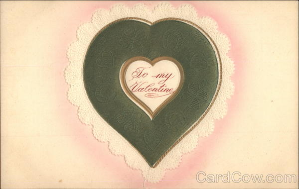Embossed Green Lacy Heart Hearts