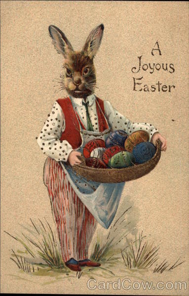 A Joyful Easter - Rabbit carrying a Basket of Eggs