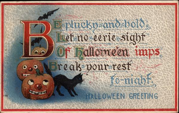 Halloween Poem, with Pumpkins, Bats, and Black Cat