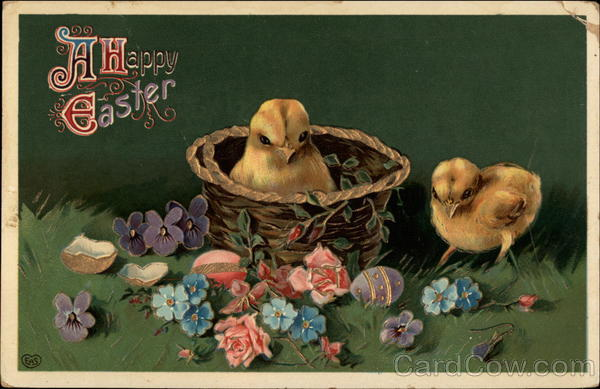 A Happy Easter - Chicks in Basket with Flowers & Eggs