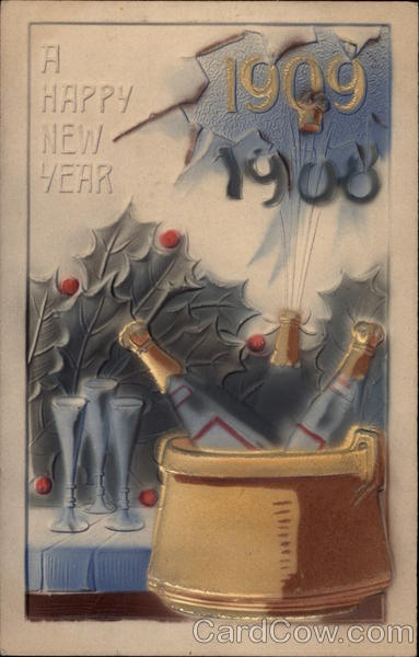 A Happy New Year 1909 Year Dates Airbrushed