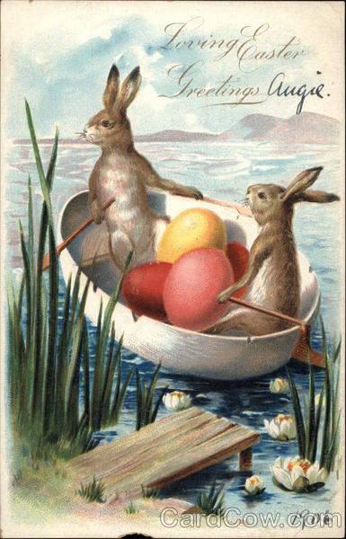 Loving Easter Greetings - Rabbits in Rowing Boat with Eggs