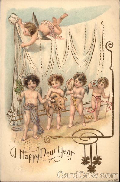 A Happy New Year - Cherubs with Pig and 4-Leaf Clover