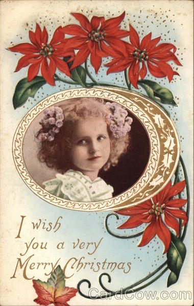 Picture of girl surrounded by Poinsettia flower Christmas