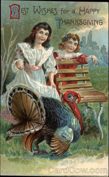 Young Girls With Thanksgiving Turkey Children