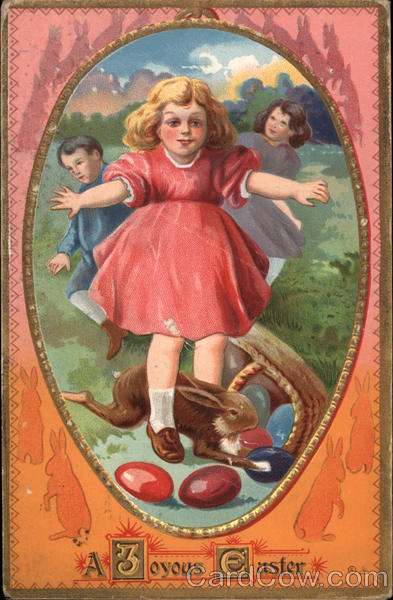 A Joyous Easter - Children with Egss and Rabbit With Children