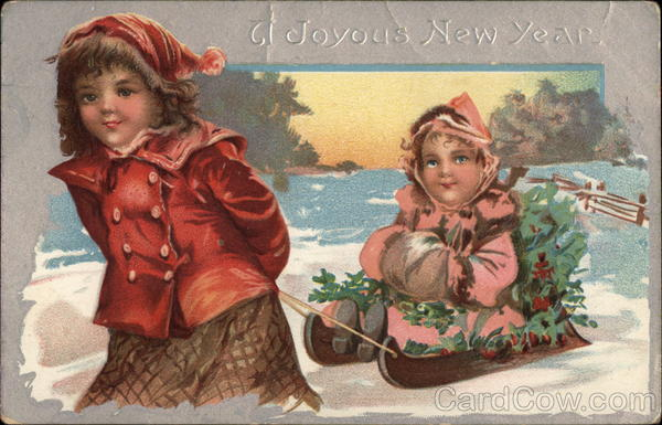 A Joyous New Year - Girls and Sled Children