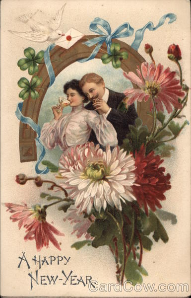 A Happy New Year - Couple with Horseshoe and Flowers