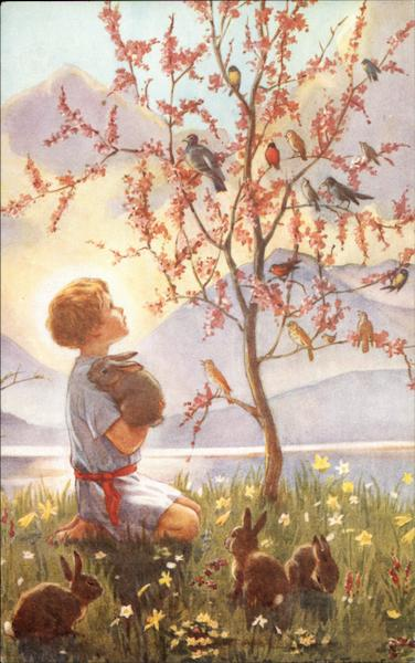 Child holding a rabbit looking at tree covered in birds