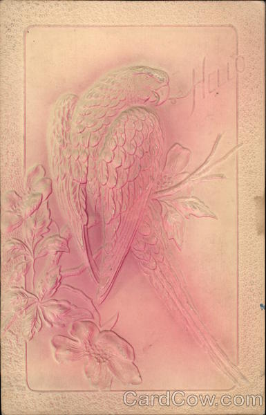 Embossed Parrot on a Branch Birds Airbrushed