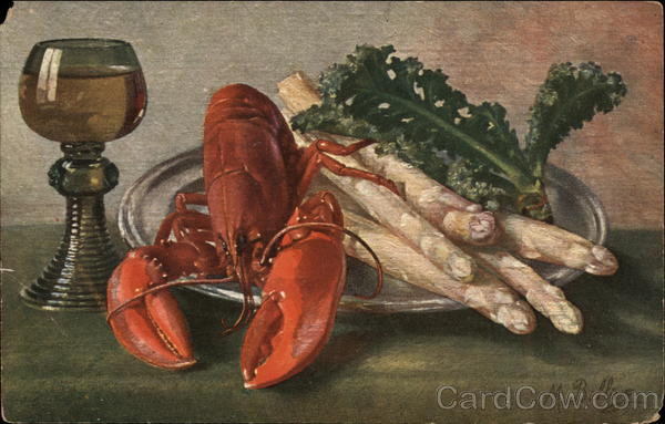 Plate of Lobster, White Asparagus and Wine Goblet M. Billing