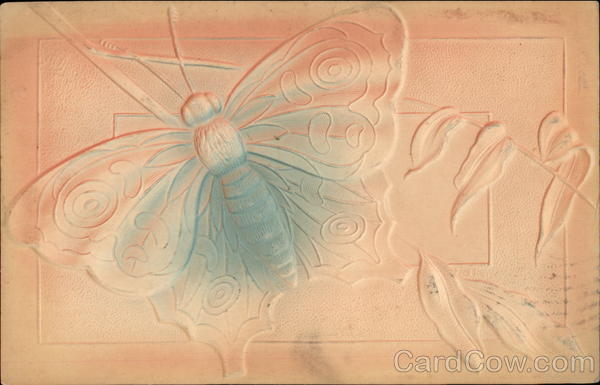 Embossed Butterfly with blue and pink shading Airbrushed