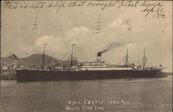 RMS Cretic, 13500 Tons, White Star Line Boats, Ships