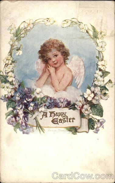 A Happy Easter - Cherub with Flowers With Angels