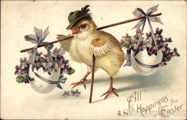 All Happiness for Easter - Chick Carrying Eggs Filled with Violets