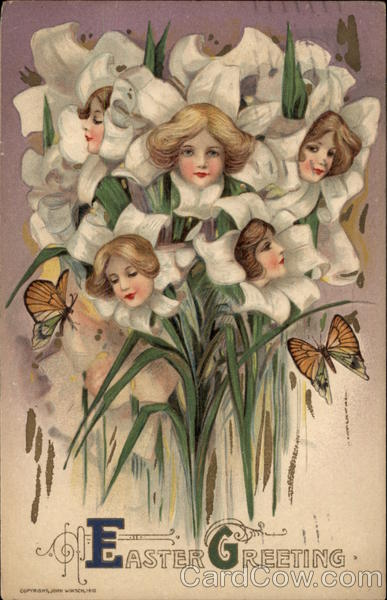 Bouquet of Lilies with Womens' Faces Flowers