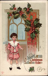 Girl with Toy Stage Coach by Door with Holly Berries