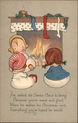 Children in Front of a Home Fire Postcard