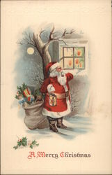 Santa with Sack in Front of Bare Tree by a Window