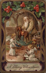 A Merry Christmas - Santa Claus with Angels Making Toys