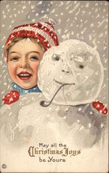 May All The Christmas Joys Be Yours - Boy with Snowman
