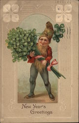 Gnome Carrying a Bunch of Four-Leaf Clovers