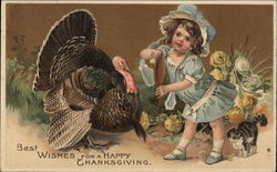 Best Wishes for a Happy Thanksgiving - Turkey and Young Girl