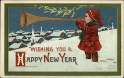 Wishing You A Happy New Year - Boy in Snow with Horn