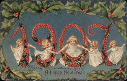 Angels Dancing around the year 1907 made of Holly Berries