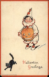 Halloween Greetings - Boy with Pumpkin and Black Cat