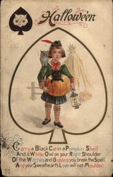 Scottish Boy with Black Cat, Owl and Pumpkin